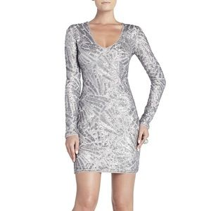 BCBG MORRIS SILVER DECO SEQUINED DRESS